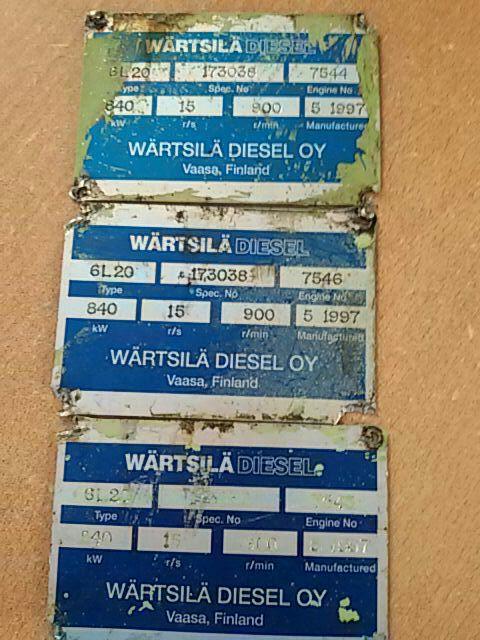 For Sale : WARTSILA 6L20 x 3 Unit Complete Genset ( Vaasa