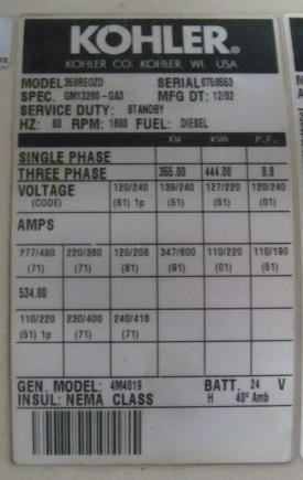 Detroit Diesel Series 60 >> FOR SALE: 355 KW KOHLER / DETROIT DIESEL GENERATOR